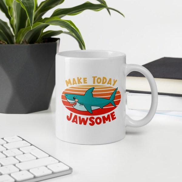 11oz make today jawsome shark mug on desk