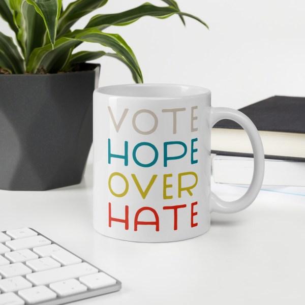 11oz vote hope mug on desk