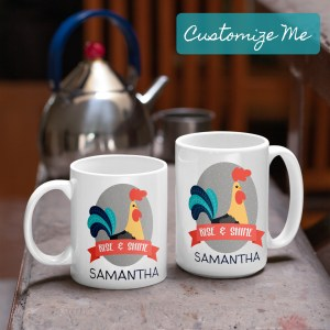 two sizes of rise and shine rooster mug