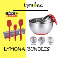 stainless steel mixing bowl and silicone scraper