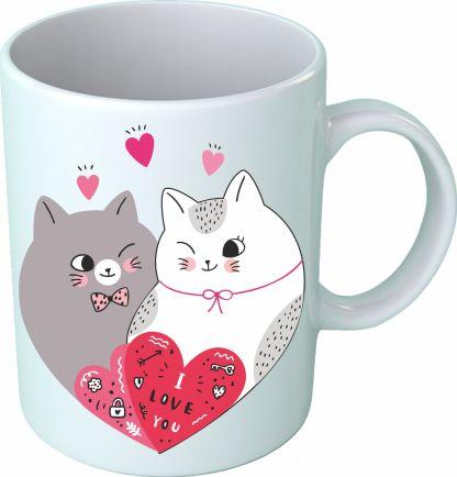 Чаша с котета, на която пише обичам те