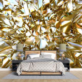 Макет на фототапет златно отражение в спалня