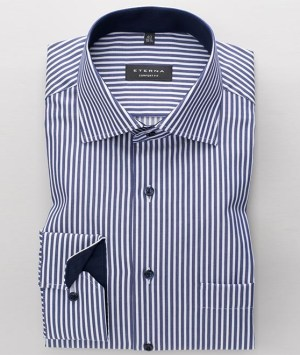 Chemises Eterna - Bleu ligné - Comfort Fit