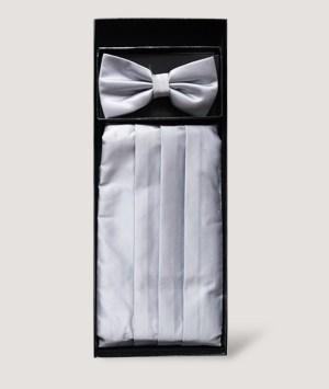 Ensemble nœud papillon et d'une ceinture smoking plissée en satin gris clair