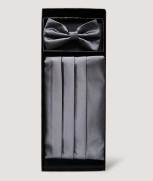 Ensemble nœud papillon et smoking plissée en satin gris