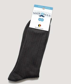 Chaussettes fil d'écosse gris anthracite côtelé