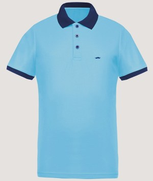 Polo maille piquée Cool Plus - Skyblue/Navy