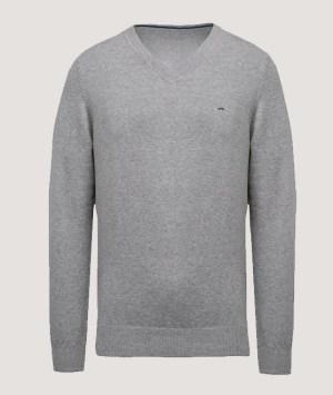 Pullover premium col V - Light grey