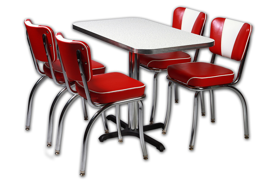 coin repas 4 chaises vintage rouge