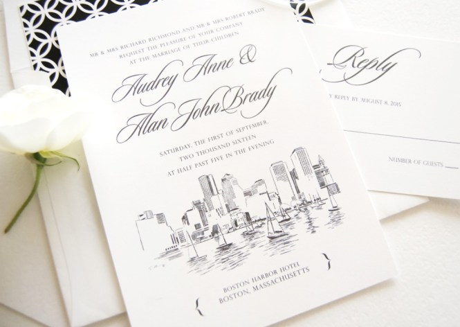 Boston Skyline Wedding Invitations