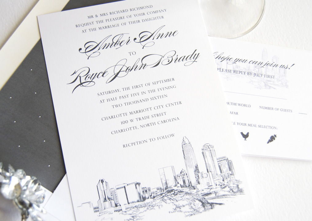 Wedding Invitations Charlotte Nc 5 7 Day Service Custom Wedding Invitations  Charlotte Nc Calligraphy