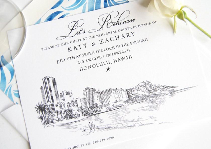 Hawaii Skyline Rehearsal Dinner Invitations