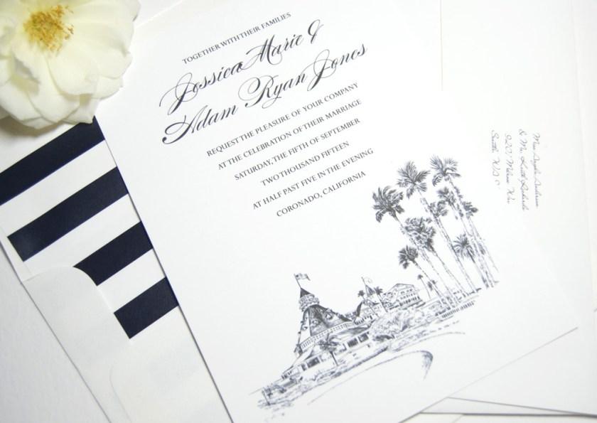 Hotel Del Coronado Skyline Wedding Invitations