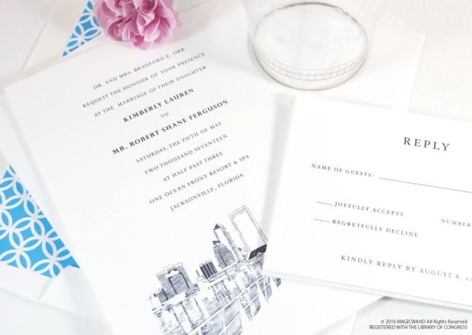 Jacksonville Florida Skyline Wedding Invitations