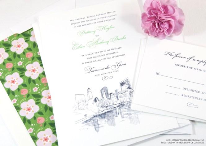 Nyc Central Park Skyline Wedding Invitations
