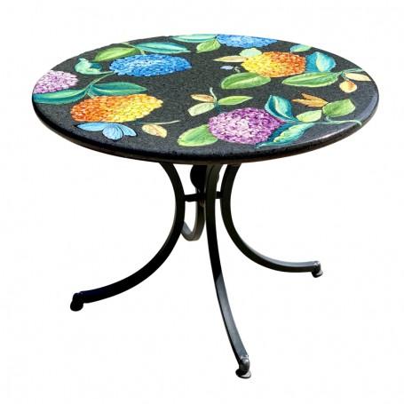 Splendido tavolo in ceramica deruta con decoro floreale, tavoli garantiti per l'esterno, un investimento che dura negli anni. Tavolo In Pietra Lavica Ortensie Mari Ceramiche Deruta