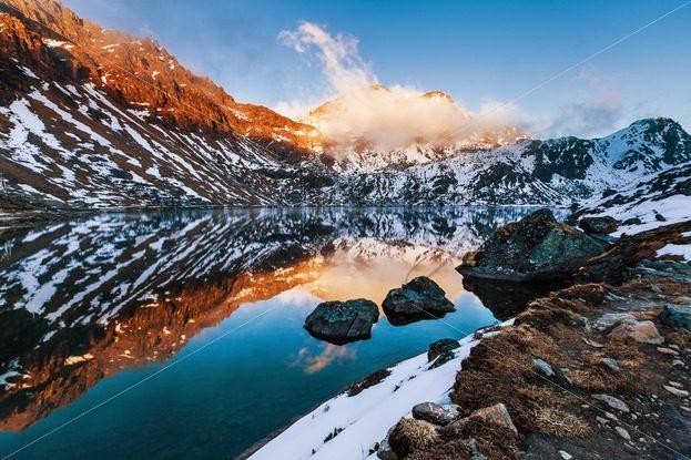 3840x2160 lake sunset 4k, hd nature, 4k wallpaper, image>. Beautiful Mountain Lake At The Sunset In Himalayas Stock Photos From Around The World