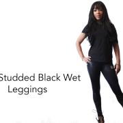 Gold Studded Wet black Leggings full