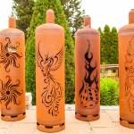 Edelrost Feuertonne Gasflasche Mit Brennendem Wurfel Design