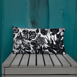 Pillow with black and white tulips