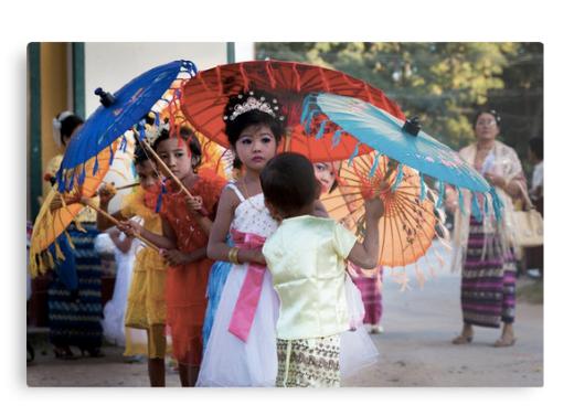 Girls in Shinbyu Parade in Bawdhitahtaung