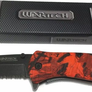 Red Wartech spring assisted folding knife-0