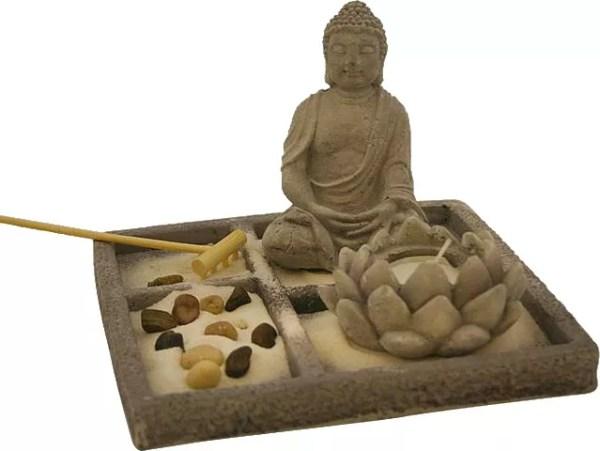 Desktop Zen Sand Garden with Buddha & candle-0