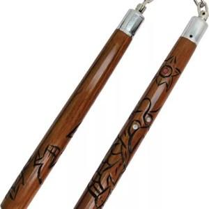Wood Nunchaku with Dragon Carving-0