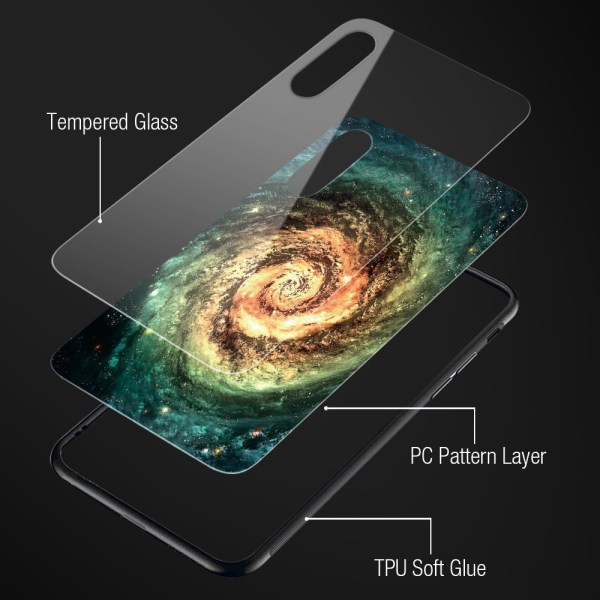 iPhone X 7 8 10 6 s XS 8 7 6 6s Plus X Glass Phone Case Star Space Cover Case