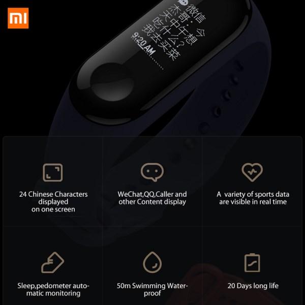 Xiaomi Mi band 3 Heart Rate Monitor Bluetooth 4.2 Smart Sport Bracelet OLED Smart band