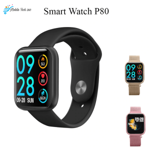 Smartwatch P80 Blood Pressure Heart Rate Monitor Pedometer Fitness Tracker Steel Smartwatch