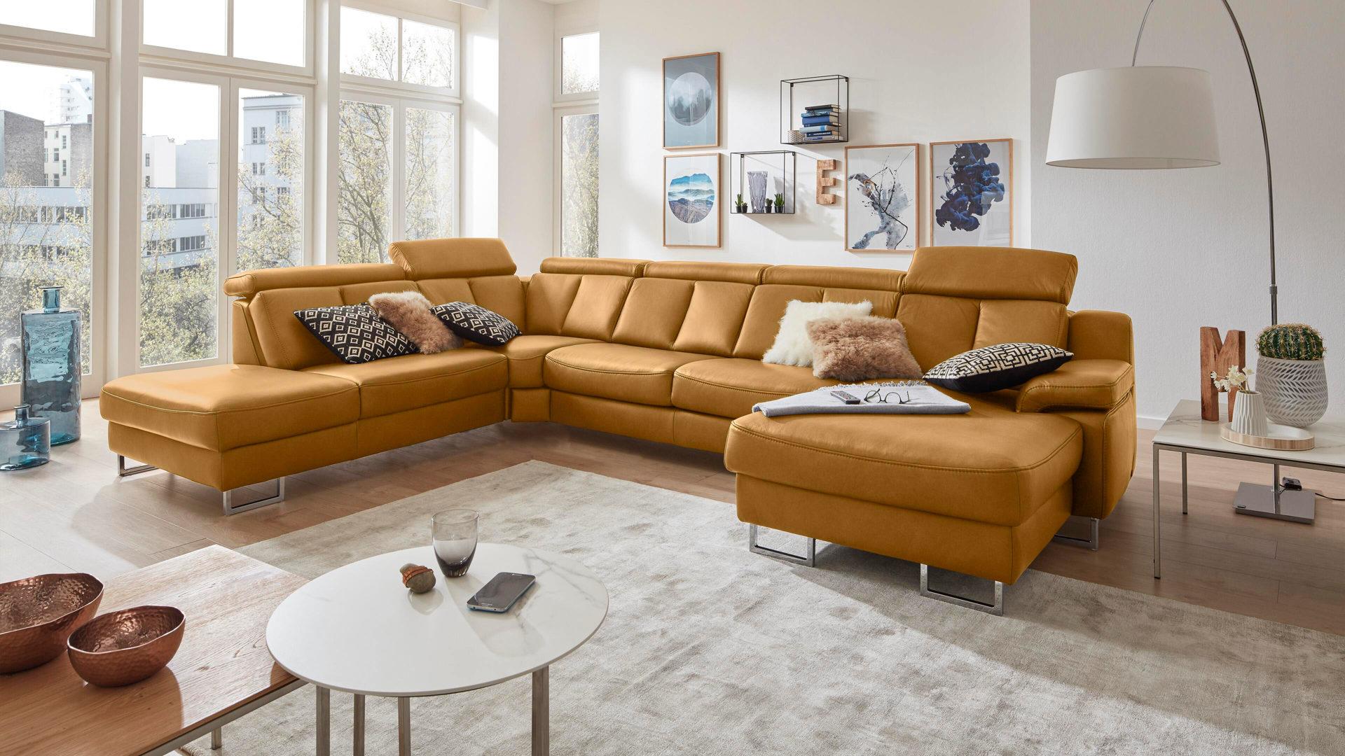 mobel boer coesfeld mobel boer interliving interliving sofa serie 4050 wohnlandschaft kurkumafarbenes longlife leder cloudy chromfusse stellflache