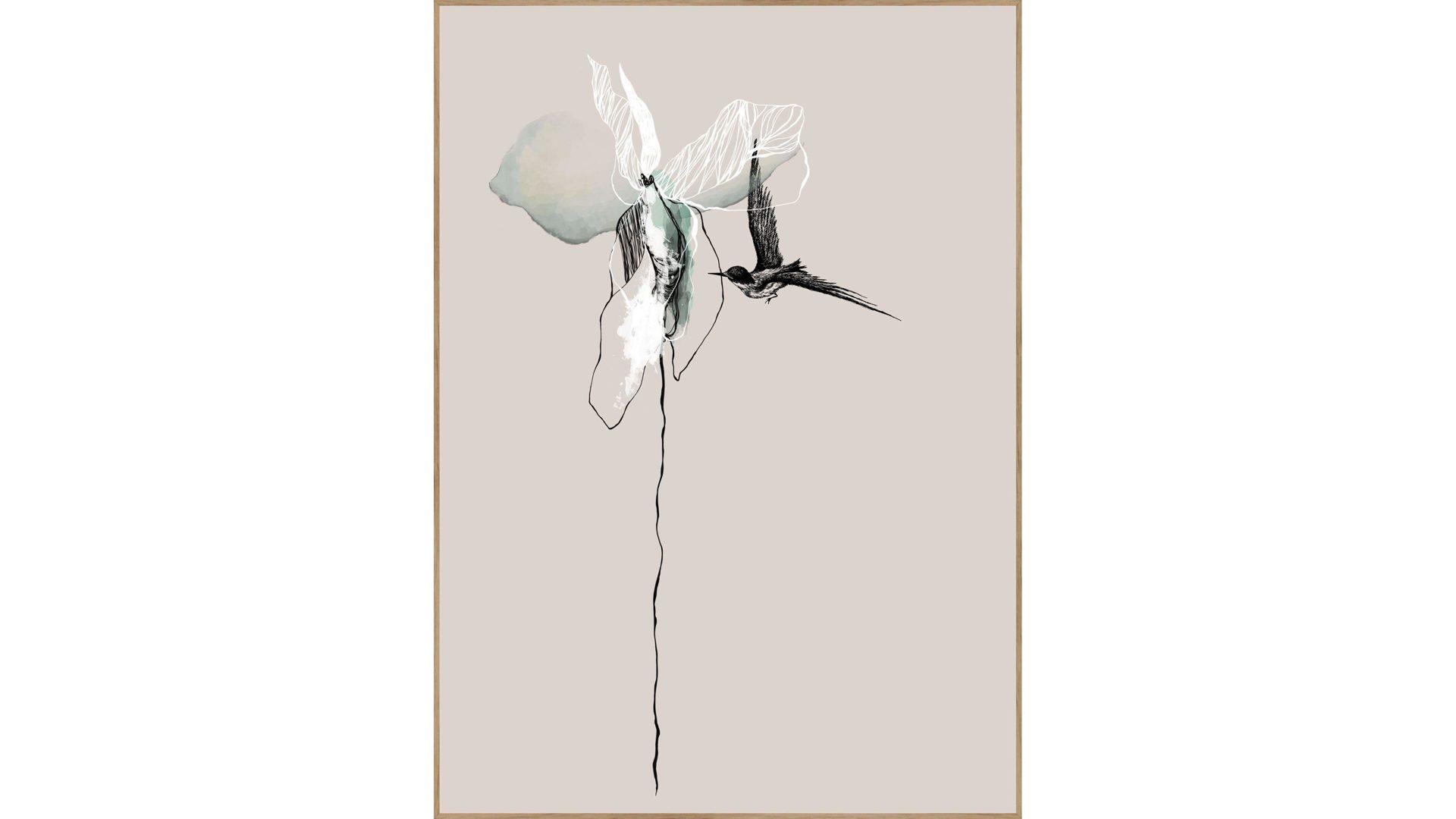 posterboard flower mit rahmen motiv blume mit vogel eichenholzrahmen ca lamstedt cuxhaven bremerhaven