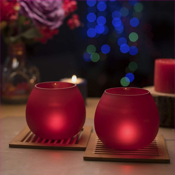 Red Frost Pot Votive TeaLight Candle Holder