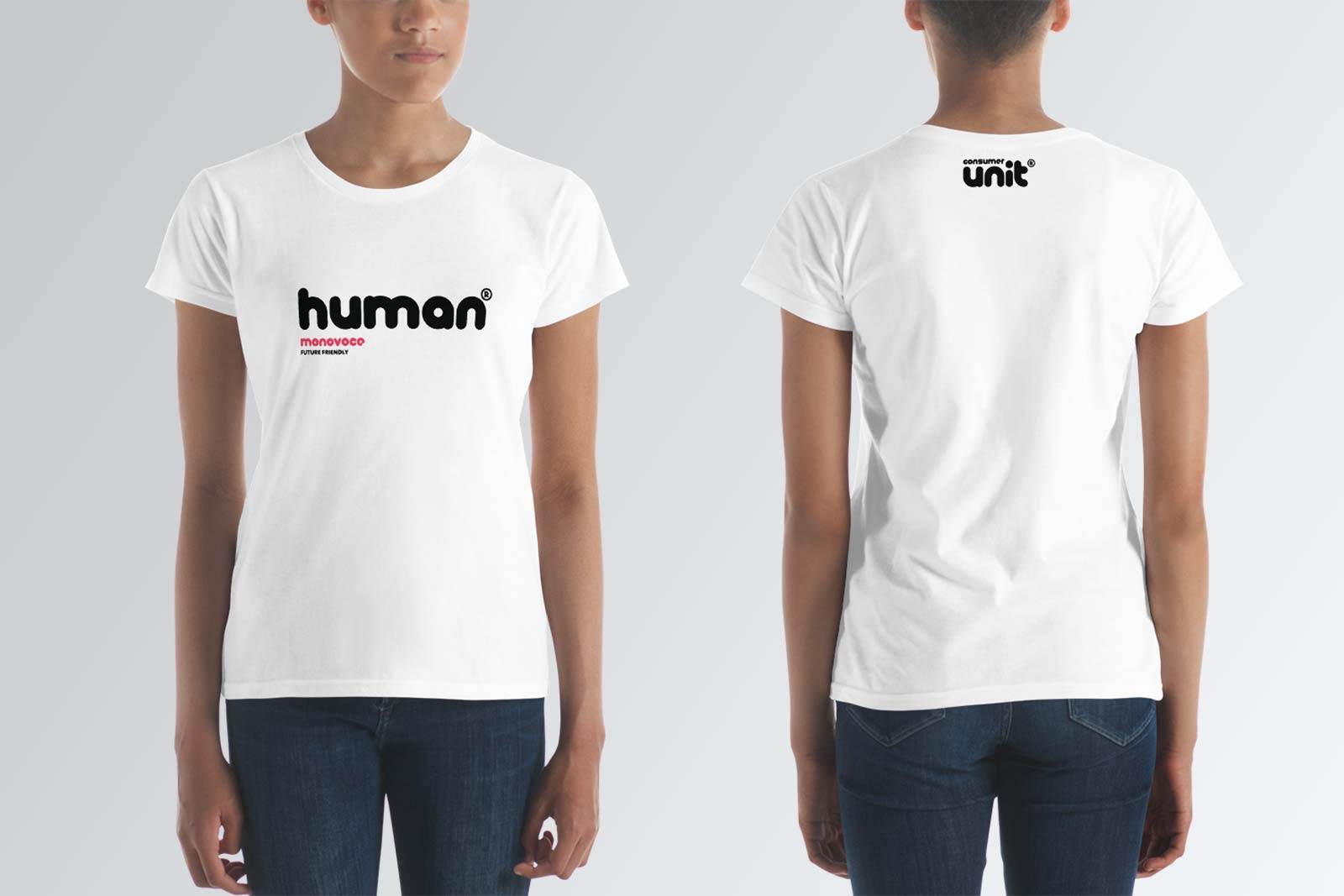 Human t-shirt for women in white