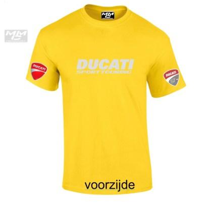 """geel shirt met zilvergrijze """"Ducati Sporttouring""""opdruk"""