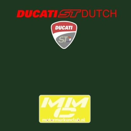 """afbeelding in de nek van het Ducati Sporttouring""""shirt. rode tekst op een donkergroene ondergrond"""