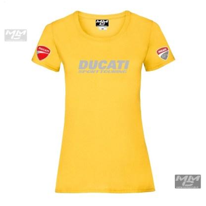 zilverkleuriggrijze bedrukking op een gele stof. Lady-fit T-Shirts