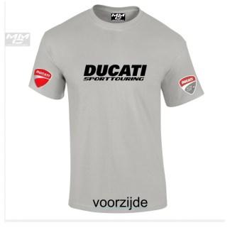"""Zwarte """"Ducati Sporttouring """"opdruk op een lichtgrijd T-shirt"""