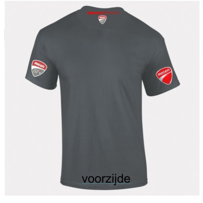 Achterzijde donkergrijs shirt met roos neklogo Ducati ST Dutch