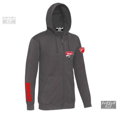 "Rode ""Ducati Sporttouring"" opdruk op donkergrijze zoodie"