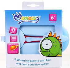 Mom Easy 2 Weaning Bowls and Lids with Heat Sensing Spoon