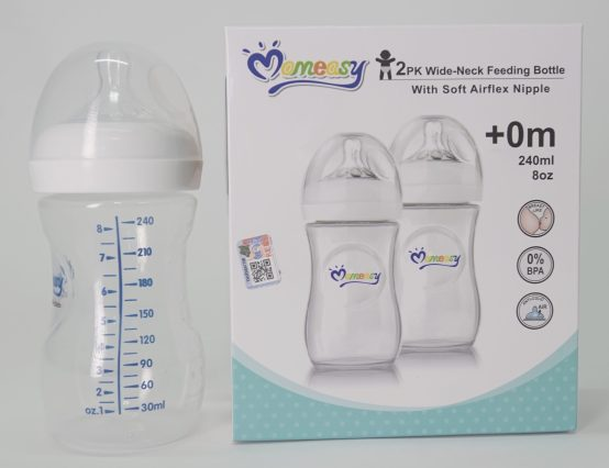 MomEasy Wide Neck Feeding Bottle- 240ML, 2 Pack