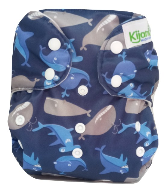 Kijani Deluxe Printed Diaper and Soaker- Whales