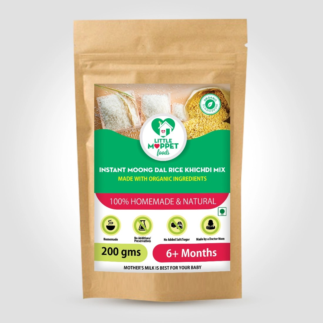 Instant Rice Khichdi Powder (with Moongdal) is a Healthy and versatile instant baby food which goes well with vegetables, curd etc.
