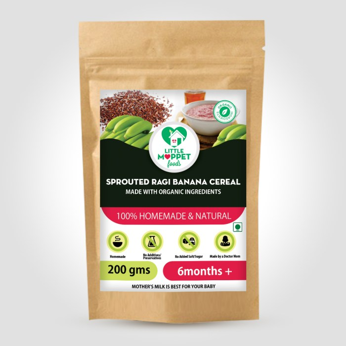 Sprouted ragi banana Cereal is the healthiest baby food with calcium, Vitamin C and iron rich ragi along with energy rich kerala bananas.