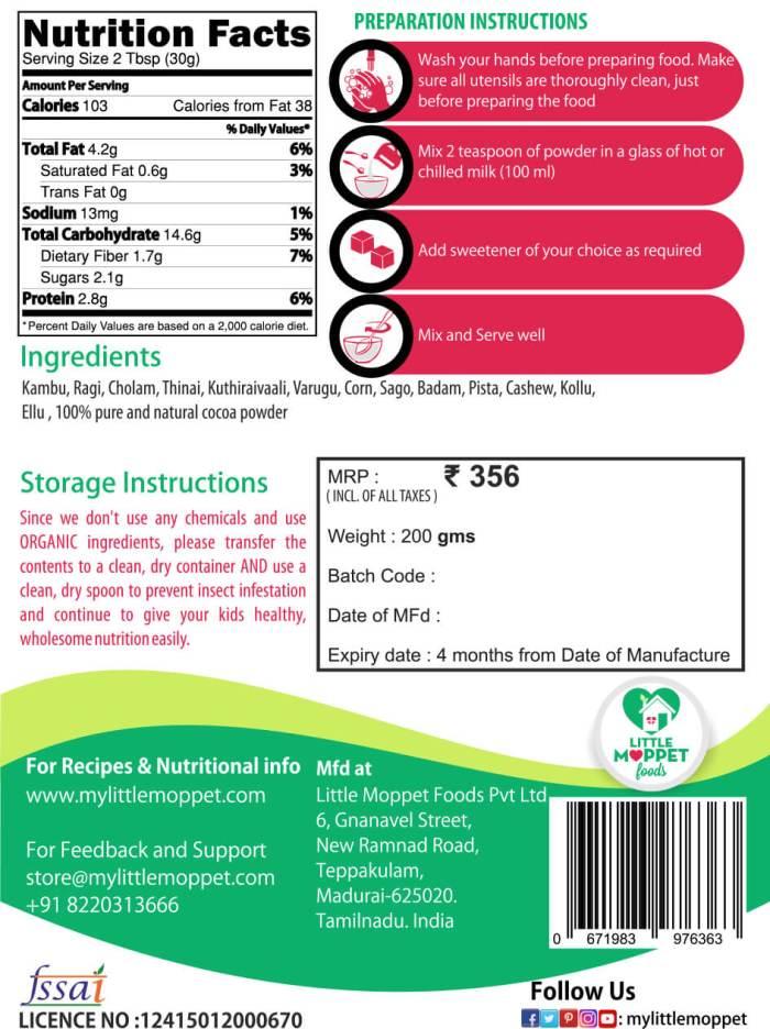 Instant Chocolate Multigrain Health Drink for Kids