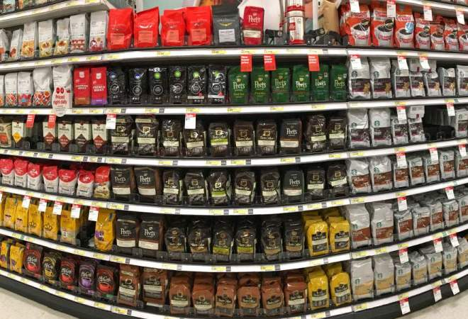 Coffee on shelves at a supermarket