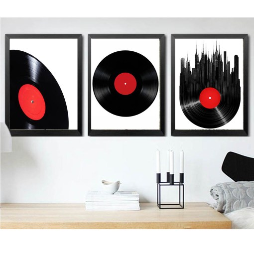 Deluxe Music Vinyl Records Printed Frameless Poster