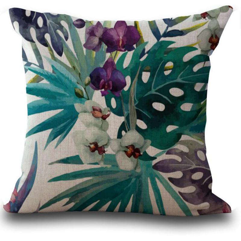 Beautiful Tropical Plants Flamingo Butterfly Square Cushion Cover